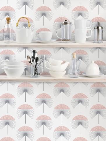Various kitchen utensils on wooden shelves